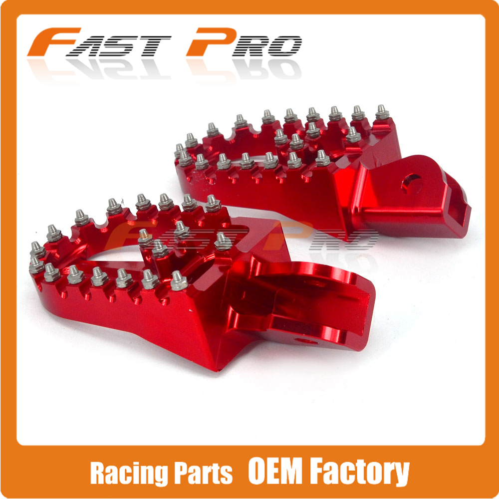 цена Billet MX Foot Pegs Rests Pedals For HONDA CRF150F CRF230F CRF 150F 230F 2003-2009 2012-2017 17 2017 RED Motorcycle