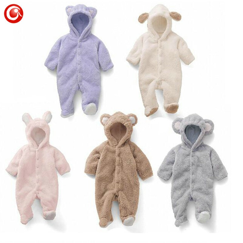 2016 Cute Winter Warm longsleeve coral fleece infant baby Romper cartoon winter Jumpsuit boys girls animal overall menino menina (4)