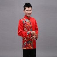 Rot traditionellen chinesischen clothing für männer bräutigam hochzeit qipao chinesische alte kostüm chinesischen männer satin tang-anzug cheongsam top