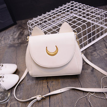 2016 New Samantha Vega Sailor Moon Ladies Handbag Black White Cat Shape Luna Moon Leather Women Shoulder Messenger Crossbody Bag