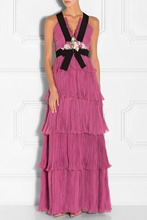 2016 Luxury Women Deep V Neck Floral Applique Chiffon Gown