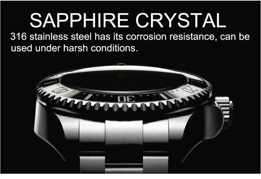 Tauchen 200m Männer Uhr Sport Herren Uhren LOREO Top Marke Luxus Wasserdicht Voller Stahl Automatische Mechanische Uhr Männer Relogio - 3
