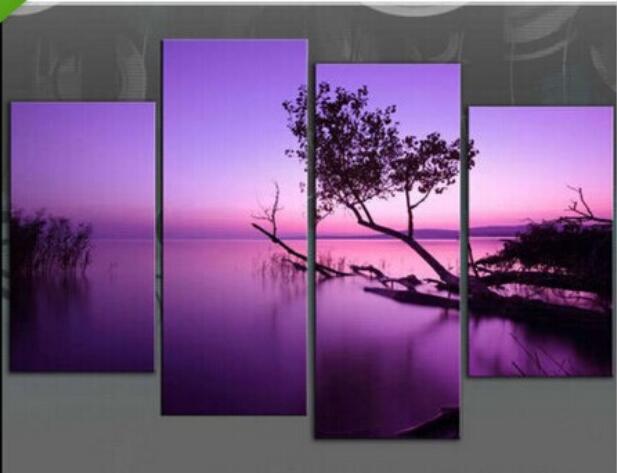 Enorme olieverfschilderij landschap 4 panelen paars meer moderne