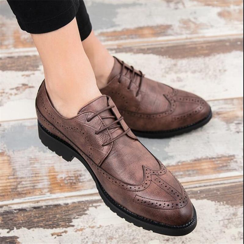 Bullock marrom Mão À Esculpida Estilo Negócios Dos Brogue Homens Formal De Sapatos Britânico Vestido Preto Oxford Grãos Couro Retro Cheio Feitas R6qC5dwpq