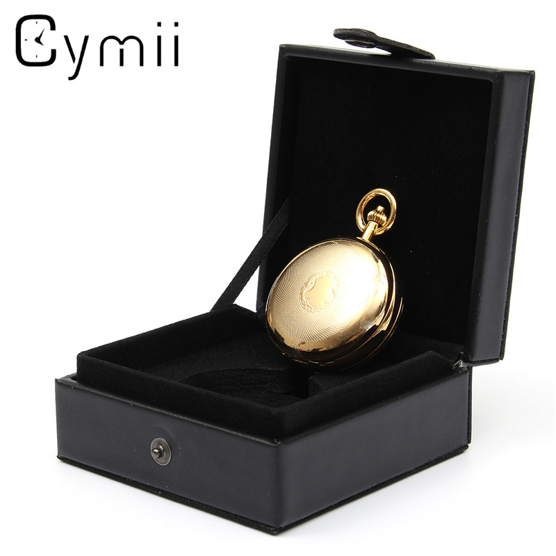 Cymii Watch Box Case Jewelry Chic Black Leather Display Case Single for Pocket Watch Box Jewel Chain Storage Holder Gift Box u7 watch holder and jewelry organizer box chic storage drawer case black high quality pu leather gift for men women ob08