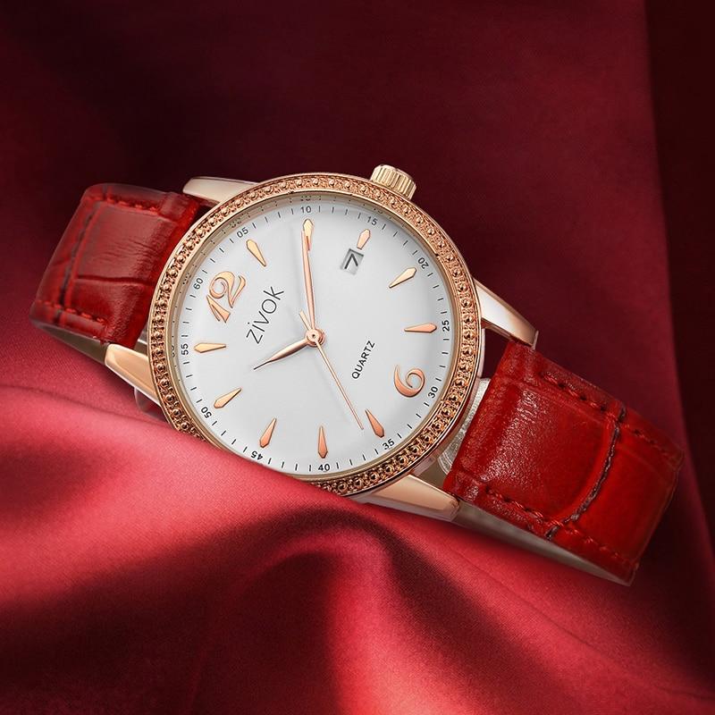 Zivok Moda Wrist Zegarki Damskie Czerwone Skórzane Miłośników - Zegarki damskie - Zdjęcie 4