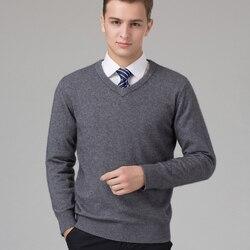 Мужской свитер из 100% козьего кашемира, вязанный зимний теплый пуловер с v-образным вырезом и длинным рукавом, стандартные свитера, мужской д...