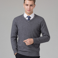 100 Pure Cashmere Knitted Sweater Man Winter Warm Pullovers V Neck Long Sleeve Standard Sweaters Male