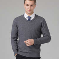 Sweater Man 100% Goat Cashmere Knitted Winter Warm Pullovers V-neck Long Sleeve Standard Sweaters Male Jumper 8Colors Tops