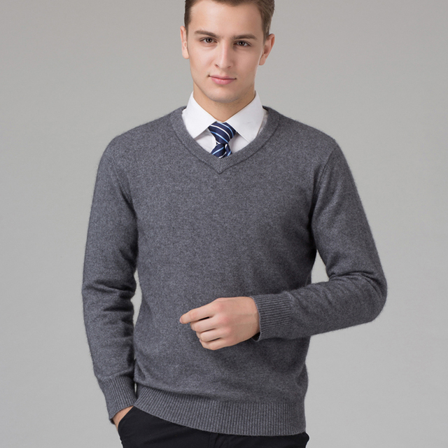 Sweater Man 100% Pure Cashmere Knitted  Winter Warm Pullovers V-neck Long Sleeve Standard Sweaters Male Jumper 8Color Puls Size