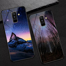 Starry sky Photo Customize Phone For Samsung Galaxy A6 2018 case Tempered Glass Cover un 6 Plus