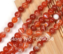 Free Shipping ! 140pcs/Lot 8mm Round Nature Red Stripe Agate Beads,Natural Semi-Precious Stone Fit For Bracelet & DIY Jewelry