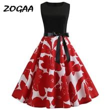 ZOGAA Fashion Summer Dress Women Retro Floral Print Vintage Sleeveless Elegant Party Dresses Sundress Vestidos women dress