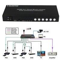 Портативный Quad 4 переключатель порта HDMI деление изображения с полным обзором Multi Viewer бесшовные switcher PIP конвертер + ИК пульт дистанционного уп