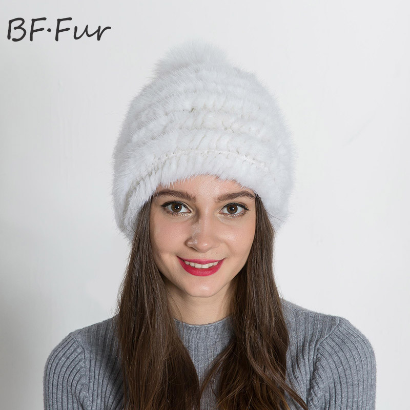 White Real Mink Fur Hat Winter Warm Russian Women Knitted Cotton Casual Cap Girls Animal Fur Solid Beanies Female Adult Bonnet russian real mink fur hat for female animal fur winter warm beanies fashion solid color cap natural color bonnet girls hats
