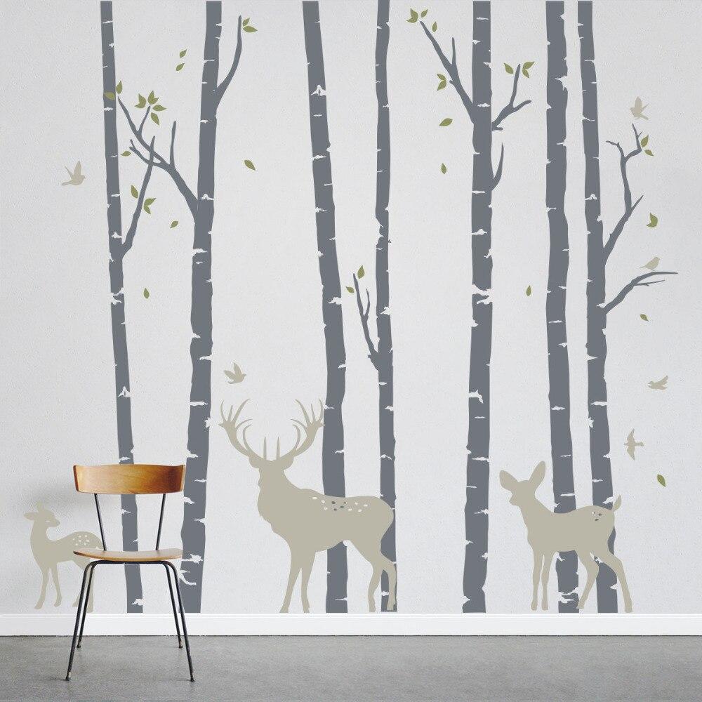 Большой Размеры березы лес с оленями стены Стикеры Art Home настенные росписи декора Стикеры s съемный дерево декоративное LC235