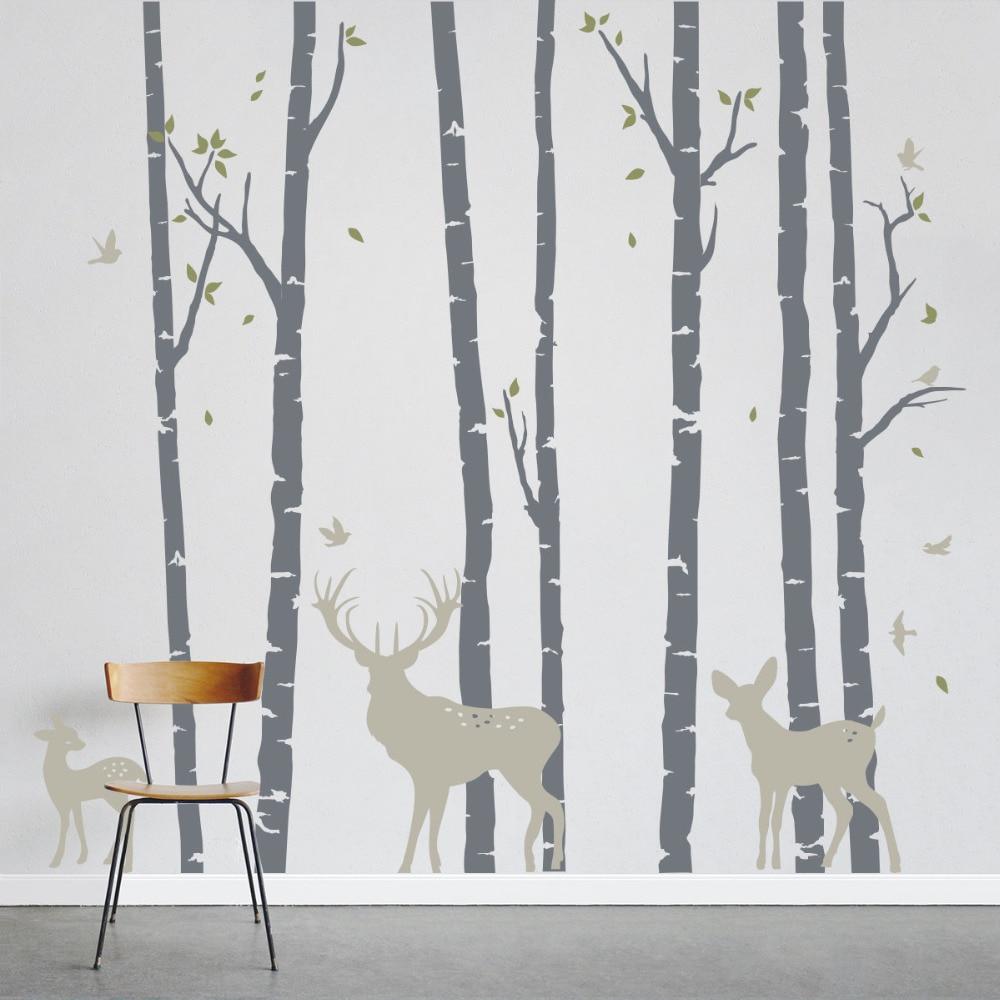 ขนาดใหญ่ขนาดต้นไม้ Birch Forest Deers สติ๊กเกอร์ติดผนัง Art Home Wall Decor ภาพจิตรกรรมฝาผนังสติกเกอร์ไวนิลที่ถอดออกได้ต้นไม้ตกแต่ง LC235-ใน สติกเกอร์ติดผนัง จาก บ้านและสวน บน   1