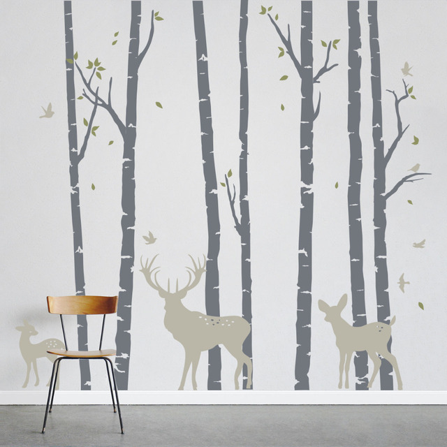 Large Size Birch Trees Forest with Deers Wall Sticker Art Home Wall ...