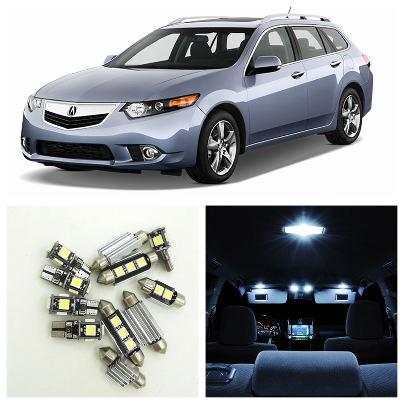 12pcs Super White Car LED Light Bulbs Interior Package Kit For 2009 2010 2011 2012 2013 Acura TSX Map Dome Step Courtesy Lamp car rear trunk security shield shade cargo cover for nissan qashqai 2008 2009 2010 2011 2012 2013 black beige