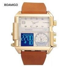 BOAMIGO Quartz Watch Men Casual Waterproof Leather Wristwatch 3 Time Zone Fashion Chronograph Wrist Watches erkek kol saati 2018