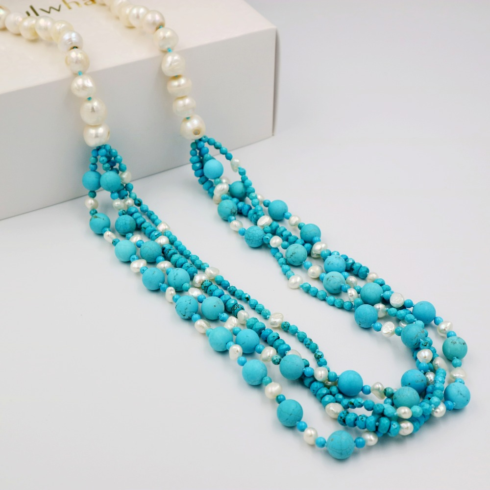 LiiJi Unique Fashion Necklace Turquoises Beads Heating Color&Freshwater Pearl Long Sweather Necklace 30/76cm