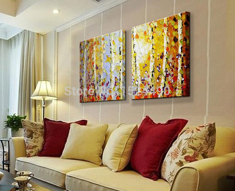 Handpainted Modern Home Decor Painting Living Room Hall Wall Art Picture Thick Colors Tree Autumn Scenery Oil On Canvas In Calligraphy