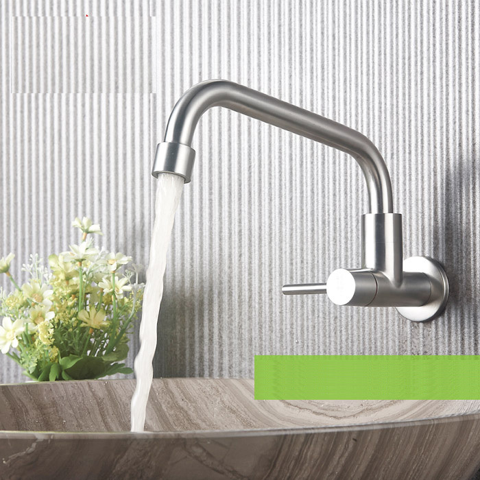 SUS 304 Stainless Steel Single Liver Wall mounted Cold Water FaucetSUS 304 Stainless Steel Single Liver Wall mounted Cold Water Faucet