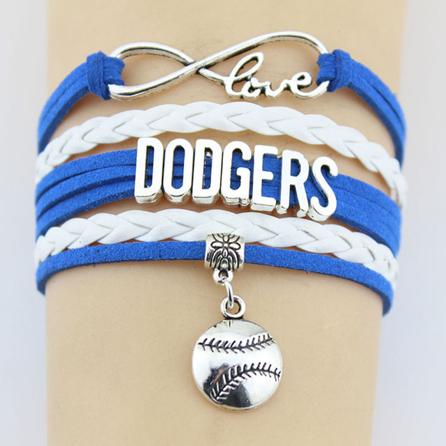 10 Pieces Lot Infinity Love Dodgers Bracelets Baseball Charm Handmade Rope Leather Weave