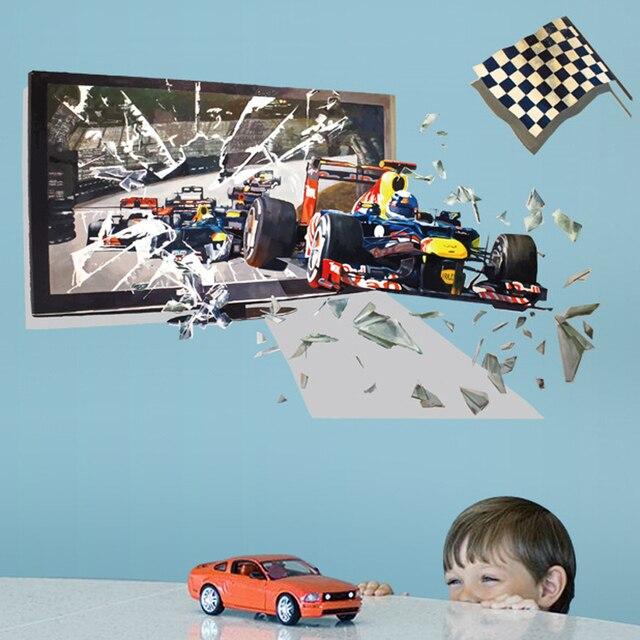 3D Racing Cassé photo cadre Course de voiture sticker mural pour ...