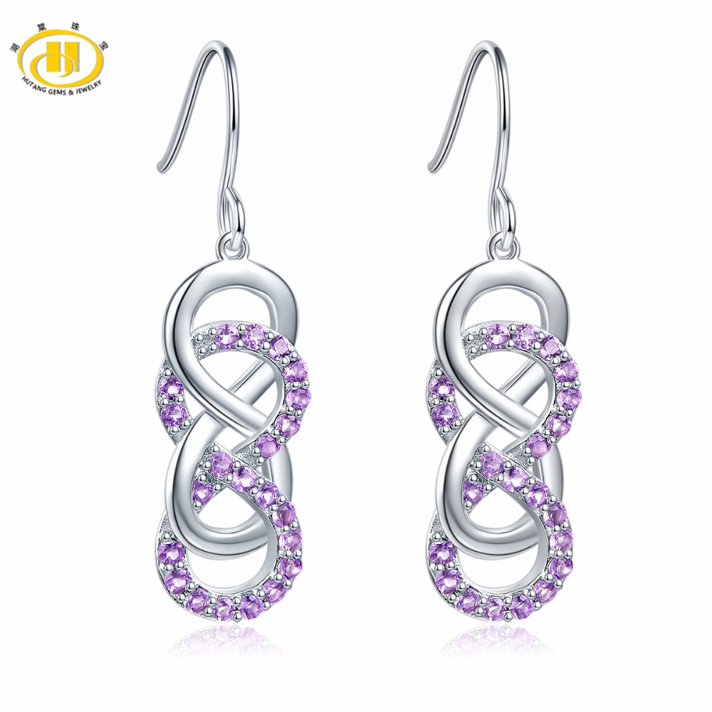 Hutang Stone Jewelry Natural Gemstone Amethyst Solid 925 Sterling Silver Infinite Earrings For Women s Gift