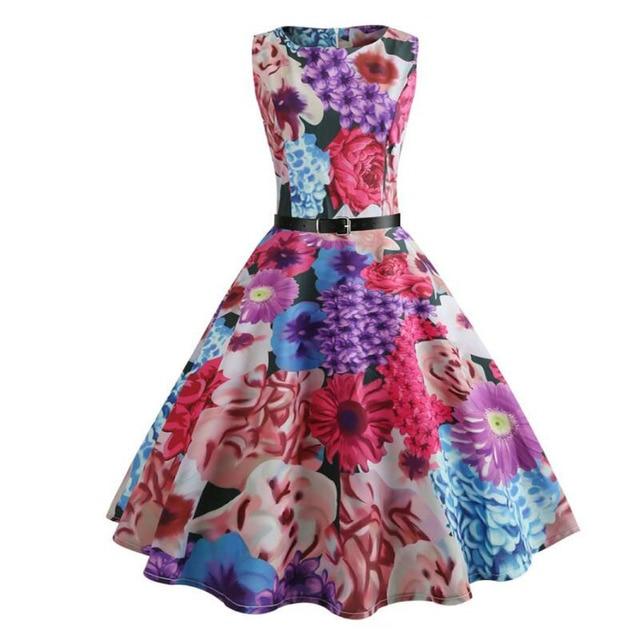 3b6d3448553 Party Dress Women Vintage Sleeveless Multicolor Floral Print Dress Knee  Length O-neck Zipper Summer New 2018 Ladies Dress-/