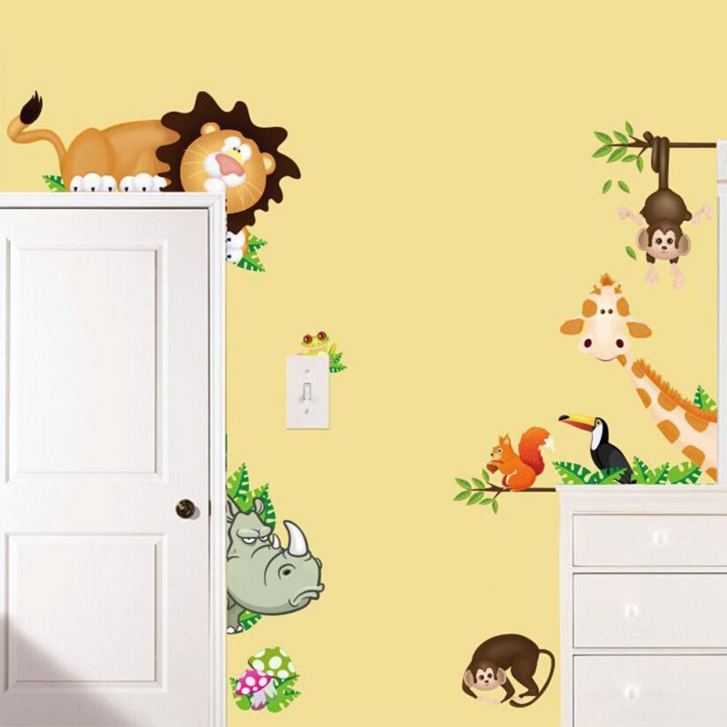 New DIY Cute Jungle Wild Animals Wall Art Decals Kids Bedroom Baby ...