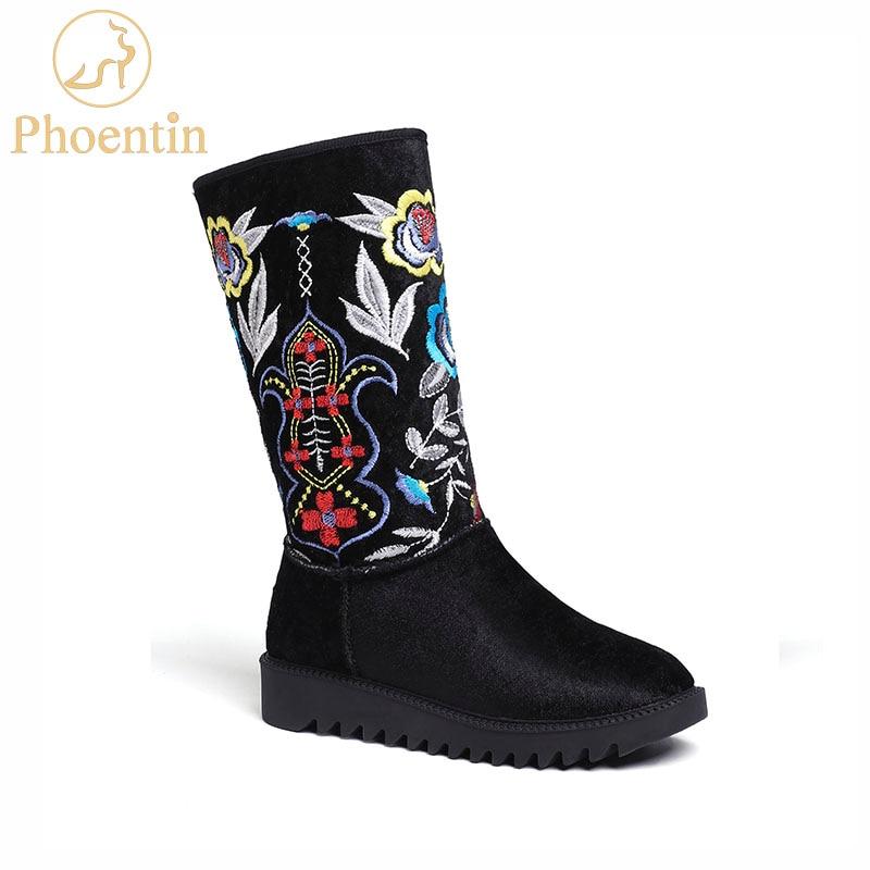 Broder Fleur Bottes Suède 2019 Chaud Ethnique Chaussures Ft556 forme Dame Laine De Nutural D'hiver Vache En Neige Phoentin Femme Noir Plate yNP8nv0wmO