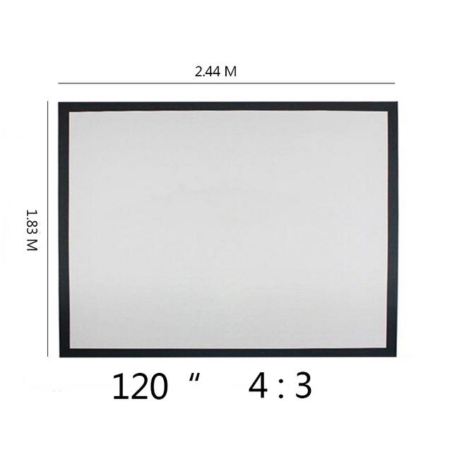 Top quality 120 polegada 4:3 Montado Na Parede Cortina Mate Branco Dobrável de lona Ao Ar Livre Para LED LCD HD Movie projetor Portátil tela