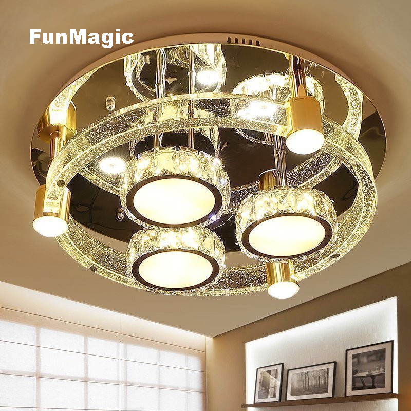 24 inch Modern Romantic round Solid Crystal LED Ceiling Light Living Room Bedroom Ceiling Fixture Lamp Dimming Bedroom Lighting