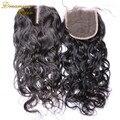 4 X 4 cabelo humano brasileiro fechamento onda Rosa 3 maneira de fechamento 7A brasileiro molhado e ondulado fechamento nós descorados