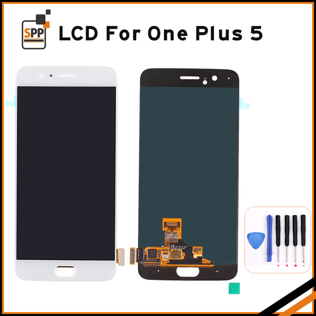 100% Tested LCD Display Screen Touch Panel Complete Assembly Oneplus 5 Five A5000 LCD Digitizer Black/White Display Tool