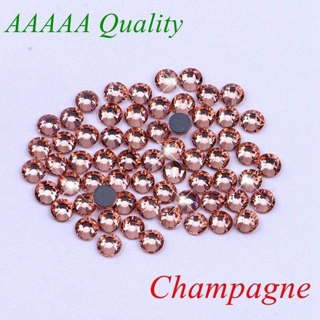 AAAAA Luxury Hotfix Rhinestone Champagne SS6 SS10 SS16 SS20 Glass Crystals  Flatback Iron On Diamond 1440pcs 961106ac7e9b