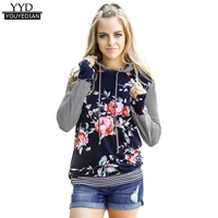 Women Floral Striped Hooded Tops Women Autumn 2017 Long Sleeve T Shirt Loose Casual Tee Tops