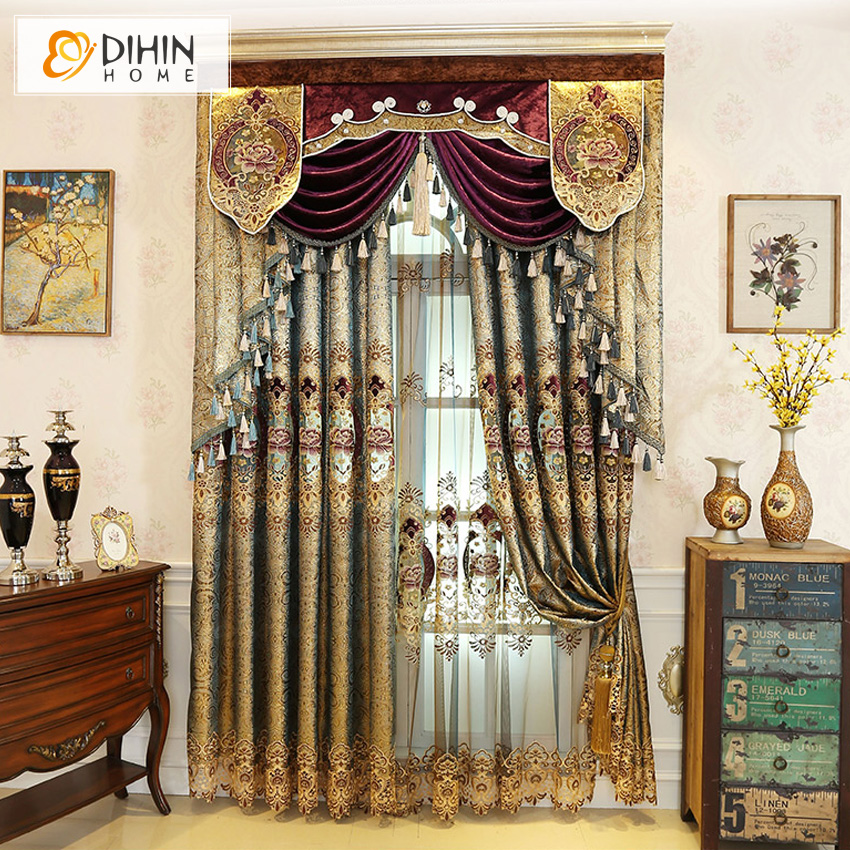 DIHIN HOME European Embroidered Luxury Curtains for ...