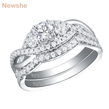 Newshe מוצק 925 סטרלינג כסף קלאסי חתונה לנשים עגול לחתוך AAA CZ אירוסין טבעת סט YR28003