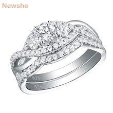 Newshe Solid 925 Sterling Zilveren Classic Trouwringen Voor Vrouwen Ronde Cut Aaa Cz Engagement Ring Set YR28003