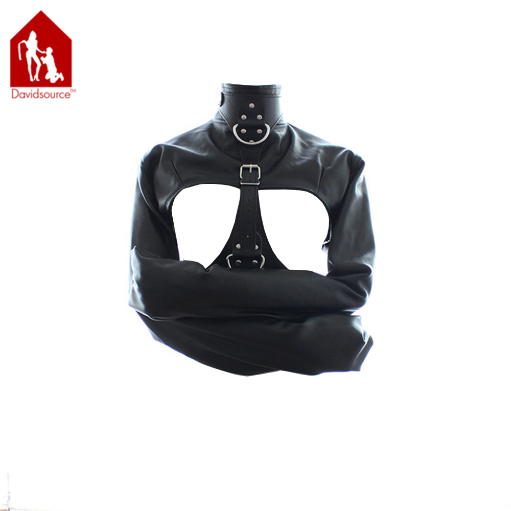 Davidsource High Collar Arms Restraint Jacket With Pulling Ring Breast Holder Leather Binding Kit Leather Harness Sexy Cloth