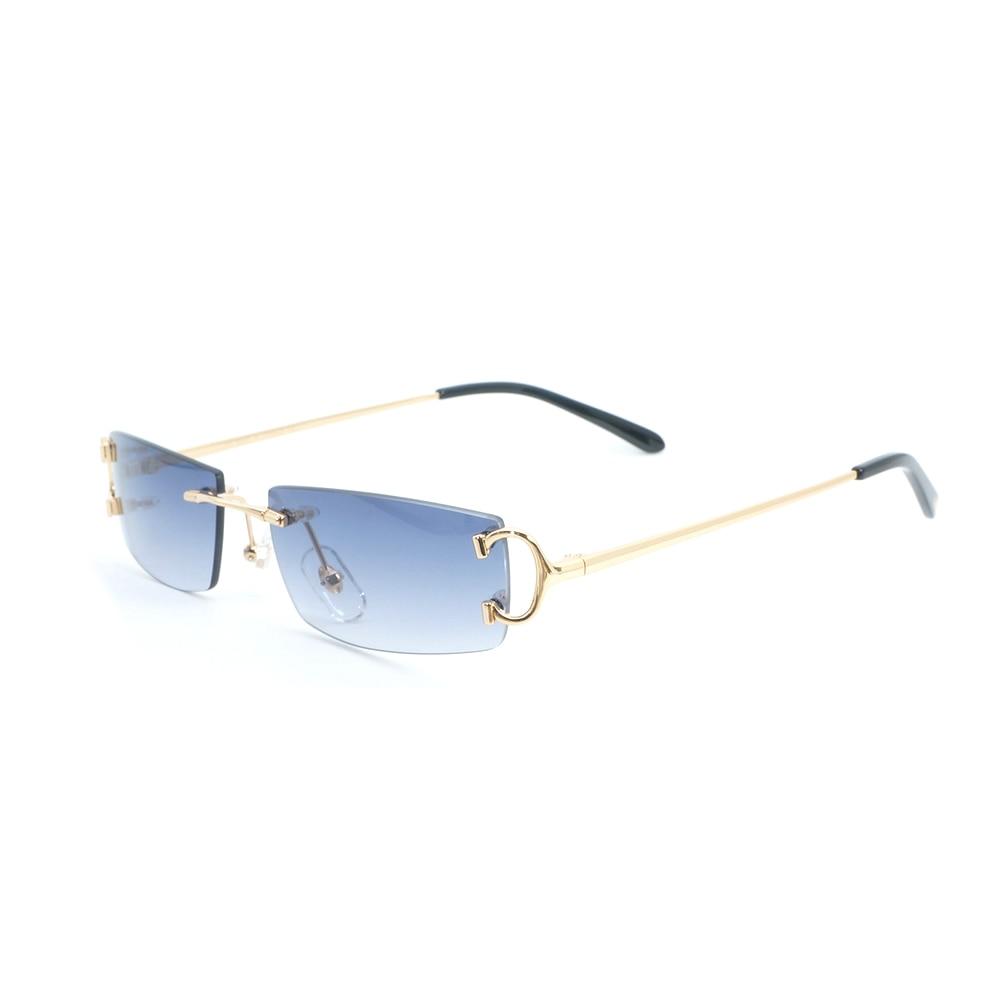 Rétro lunettes de Soleil Sans Monture Hommes Accessoires 2018 De Mode Petite Lentille Lunettes De Soleil pour L'été Vintage Lunettes Cadre Lunettes De Luxe