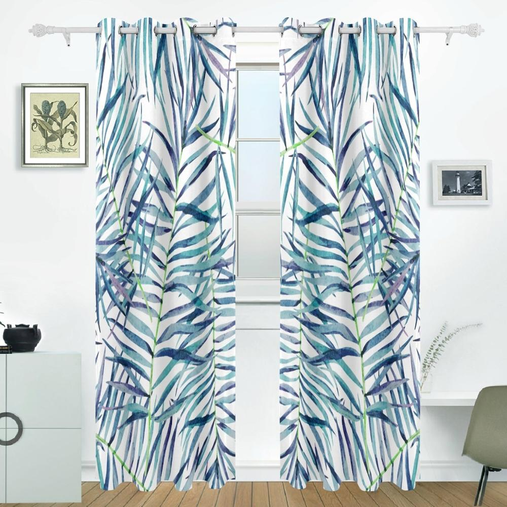 Tropical Leaves Curtains Drapes Panels Darkening Blackout