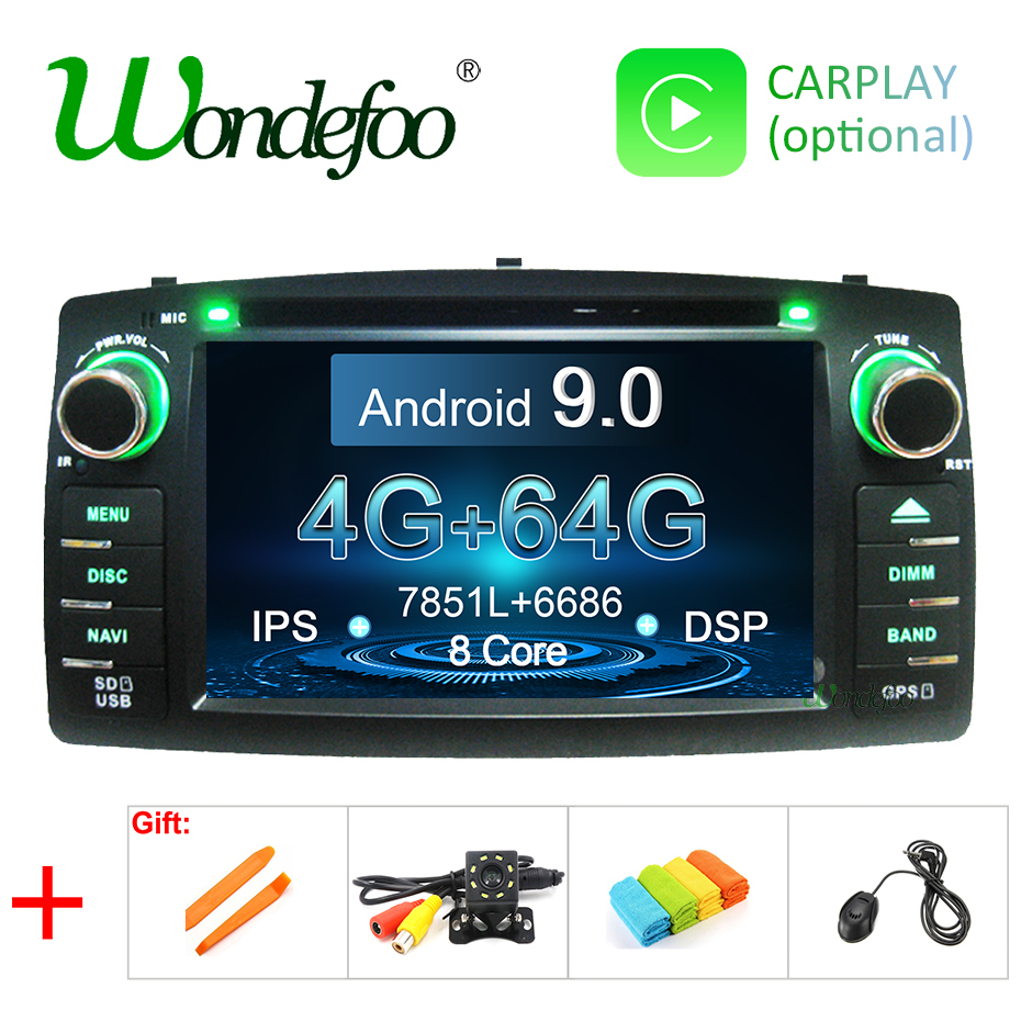 Android 9 0 4G 64G IPS DSP 2 din car DVD player For Toyota corolla E120