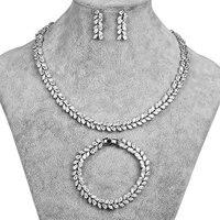 High Polished Cubic Zirconia Sparkling Rhinestone Necklace Earring And Bracelet Set