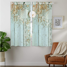 цены Blackout Curtains Darkening 2 Panels Grommet Window Curtain for Bedroom Blue Starfish Seashell Shell Sea Life