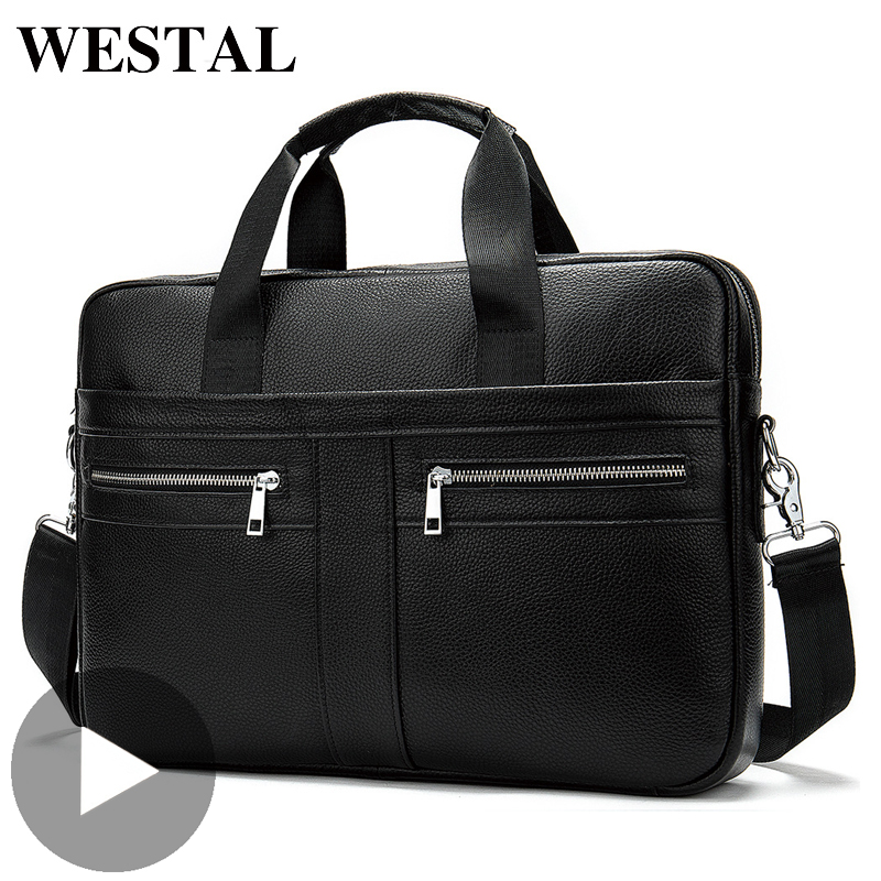 Westal Shoulder Messenger Women Men Bag Genuine Leather Briefcase For Document Handbag Business Male Female Laptop A4 Portafolio