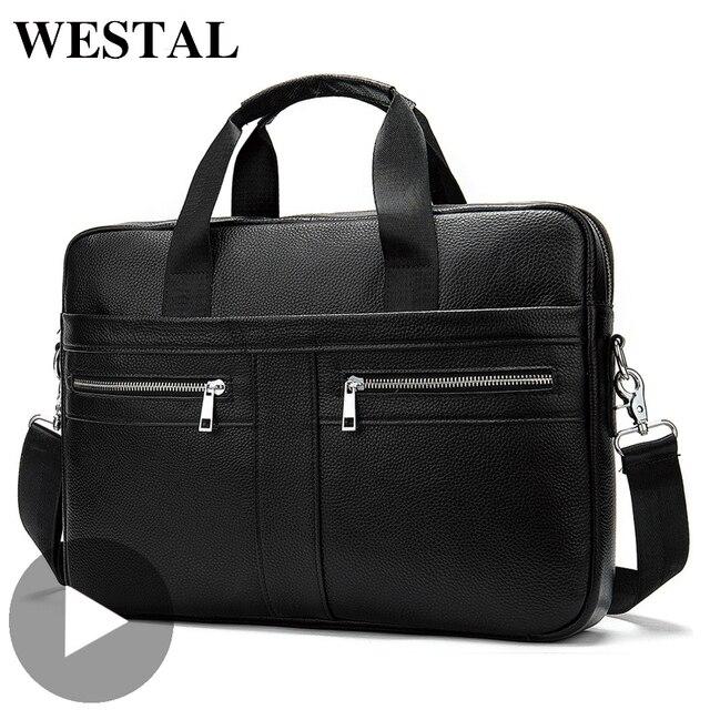 Westal ombro mensageiro das mulheres dos homens bolsa de couro genuíno para documento bolsa de negócios masculino feminino portátil a4 portafolio